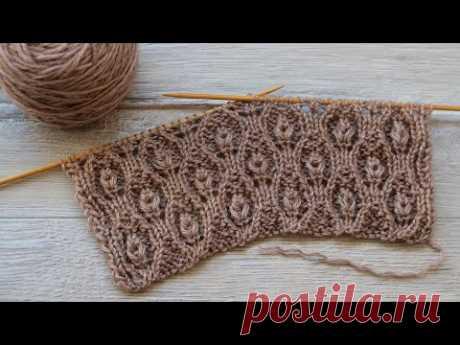 Узор «Бутоны» вязания спицами 🌹 «Buds» knitting pattern