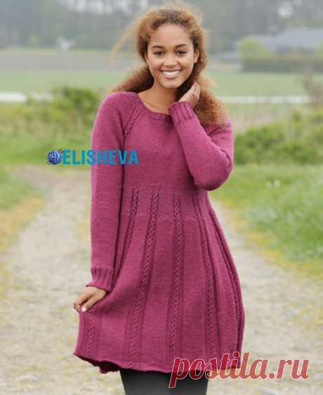 Вязаное красивое платье с регланом и узором из кос спицами | Блог elisheva.ru