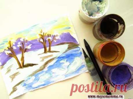 Рисунок Тает снег пошагово для детей с фотографиями Рисунок тает снег. Мастер-класс как нарисовать тает снег гуашью для детей. Содержит подробное описание с пошаговыми фотографиями.