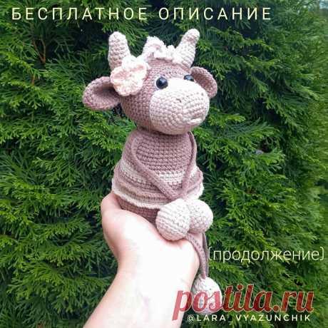 PDF Забавная Коровушка крючком. FREE crochet pattern; Аmigurumi animal patterns. Амигуруми схемы и описания на русском. Вязаные игрушки и поделки своими руками #amimore - корова, маленькая коровка, телёнок, бык, бычок.