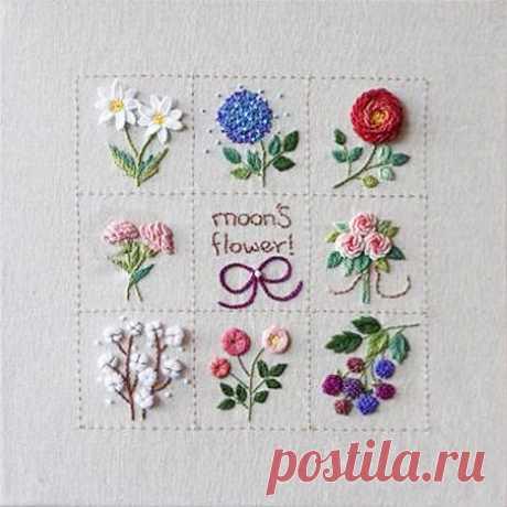 Как сделать цветочную вышивку