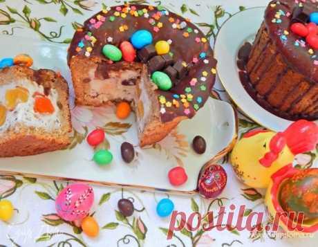 Шоколадный кулич с пломбиром. Ингредиенты: мука, молоко, дрожжи сухие | Официальный сайт кулинарных рецептов Юлии Высоцкой