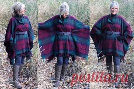 Стильное пальто-накидка из... пледа. Мастер-класс от Beth Huntington
