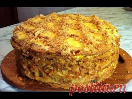 Закусочный Наполеон с Курицей и Грибами(Очень Вкусно)/Закусочный Торт/Новогодний Рецепт