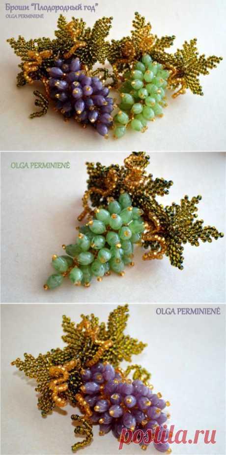 Опять виноградные броши. | biser.info - всё о бисере и бисерном творчестве