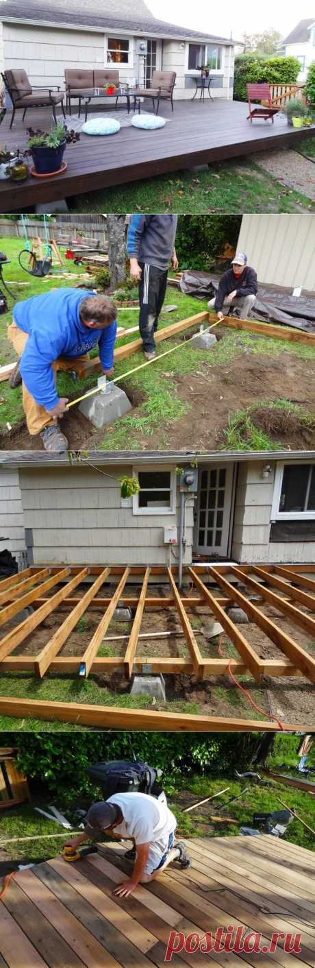 Как создать деревянную палубу возле дома .