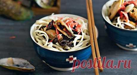 Лапша с водорослями и мидиями, пошаговый рецепт с фото