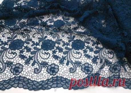 Макраме - темно-синее с ажурными краями - купить ткань онлайн через интернет-магазин ВСЕ ТКАНИ