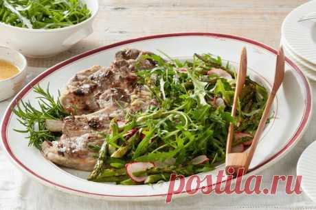 Rosemary lamb chops with rocket salad