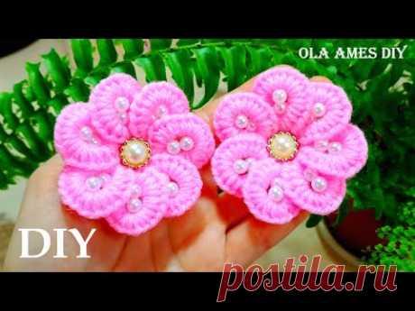 Easy Woolen Flower🌸 ЦВЕТЫ НА РЕЗИНКЕ БЕЗ КРЮЧКА🌸No Crochet Yarn Flower/Woolen Flower Making/Ola ameS