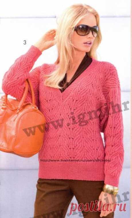 Коралловый пуловер V-образным вырезом