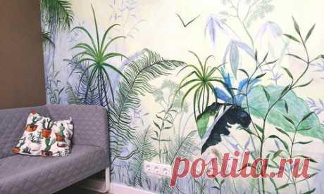 Роспись стены в квартире: бюджетно и красиво