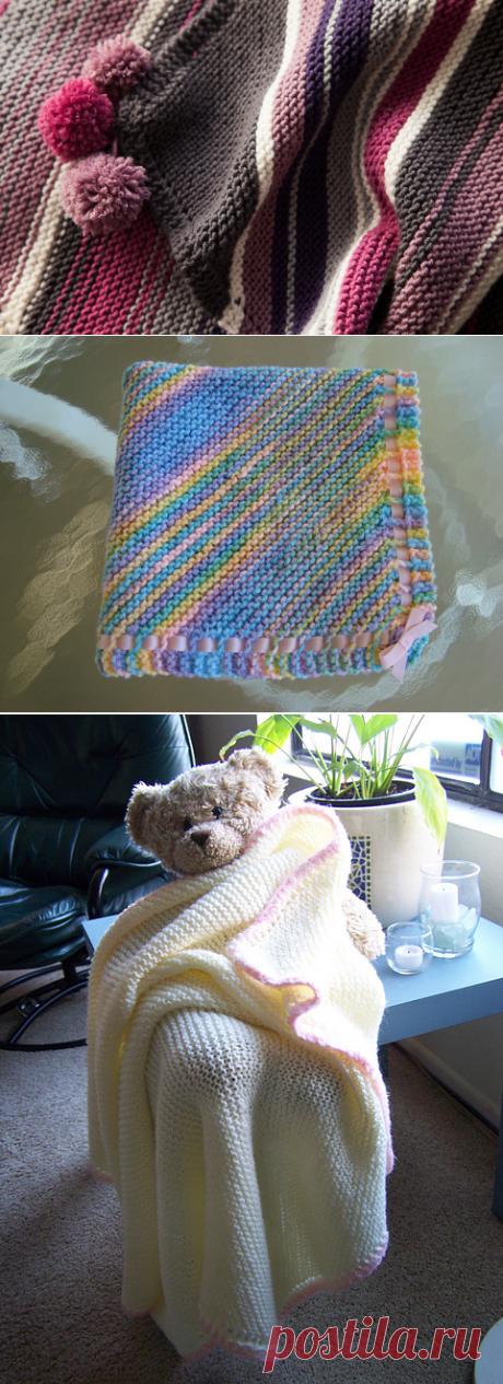 Диагональное одеяло для новорожденных спицами | Мои Петельки