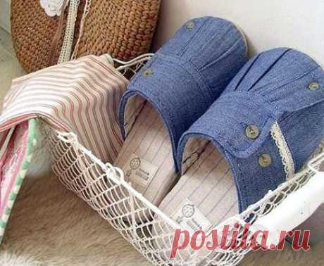 Тапочки из старой рубашки с регулируемой шириной (Шитье и крой) — Журнал Вдохновение Рукодельницы
