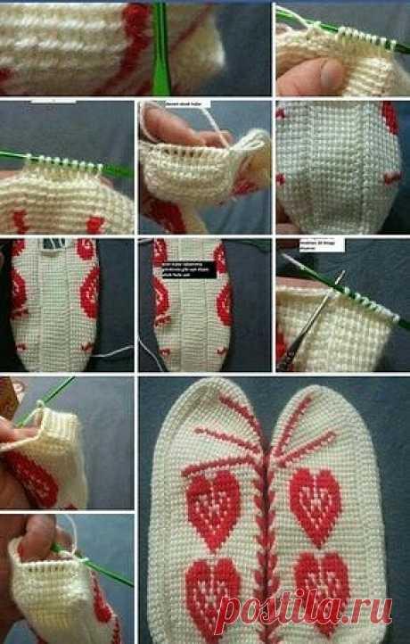 Вяжем следки тунисским вязанием.  Пошагово
