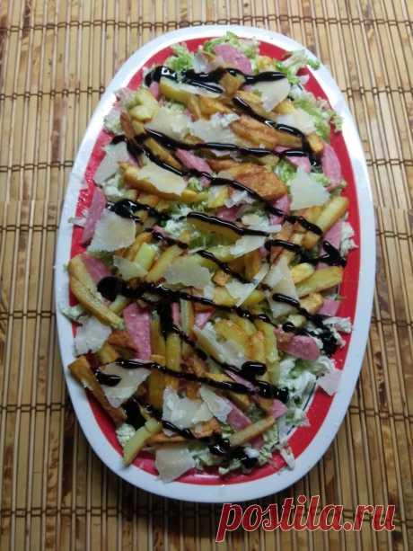 Салат с капустой, салями и жаренной картошкой рецепт с фото пошагово