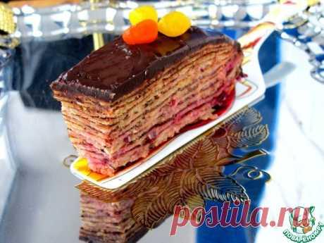 """Торт """"Два шоколада"""" блинный, с клюквой Кулинарный рецепт"""