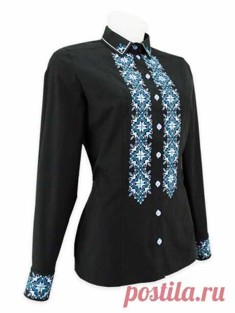 Вишита сорочка сучасного крою для ділових жінок (вишиванка), колір чорний, код 245 | kirushkos.com.ua