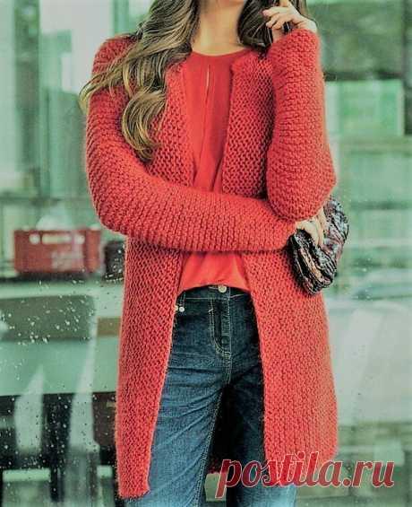Модные красивые жакеты, связанные платочной вязкой (с описанием) | Идеи рукоделия | Яндекс Дзен