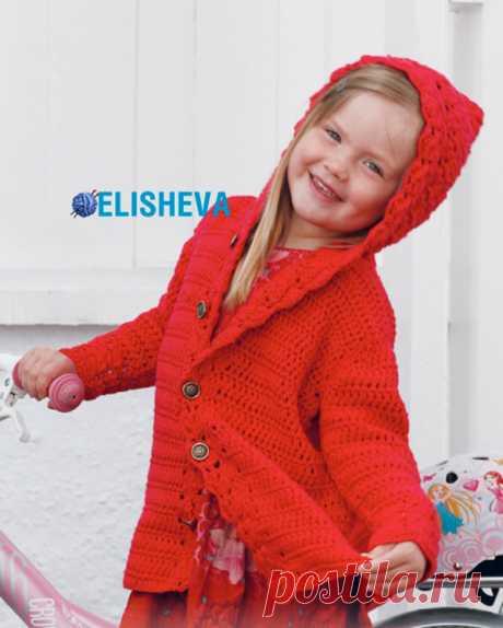 """Ажурное пальто для девочки с капюшоном """"Little Red Riding Hood"""" от DROPS Design, вязаное крючком"""