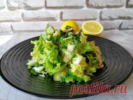 Хрустящий салат с тунцом, легкий и не надоедает