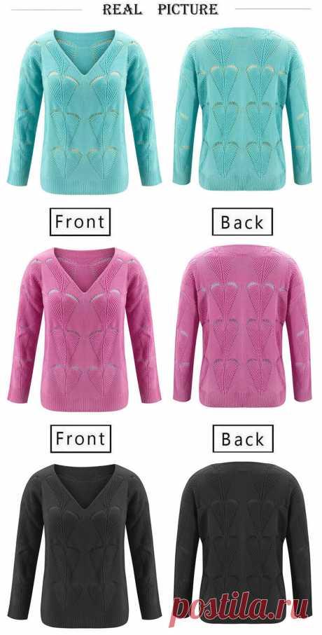 Женский трикотажный свитер с V образным вырезом и длинным рукавом|Водолазки| | АлиЭкспресс