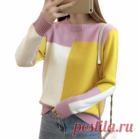 US $6.17 32% СКИДКА 2019 осенне зимний свитер в Корейском стиле контрастного цвета женский джемпер с длинными рукавами свитер и пуловер вязаный женский свитер пуловер-in Пуловеры from Женская одежда on AliExpress - 11.11_Double 11_Singles' Day Покупай умнее, живи веселее! Aliexpress.com