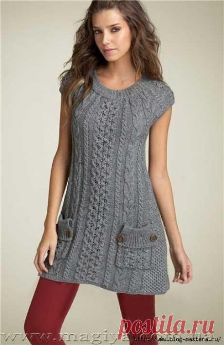 Стильное серое платье с жемчужным и рельефным узором спицами