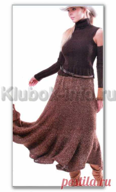 Вязание спицами. Однотонная длинная юбка-годе. Размеры: единый