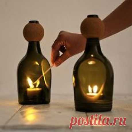 Glass Bottle Tea Light Holder by Lucirmás. By using a Diamond Slitting disc from Eternal Tools, create holes in your bottles to hold candles and tea lights in. Begin the hole with a diamond core drill then cut out the shape with your disc. File away the edges with a diamond file and smooth off with polishing paste.