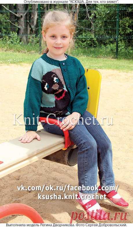 Жакет с рисунком «Собачка» на спицах. - Девочкам на спицах - Вязание спицами - Каталог статей - Вязание спицами и крючком