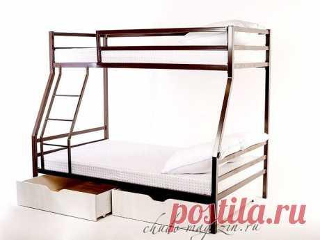 Кровать двухъярусная металлическая с ящиками для белья КД-15