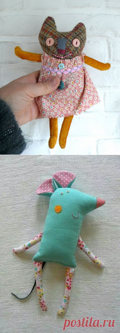Cats and mice. Textile toys