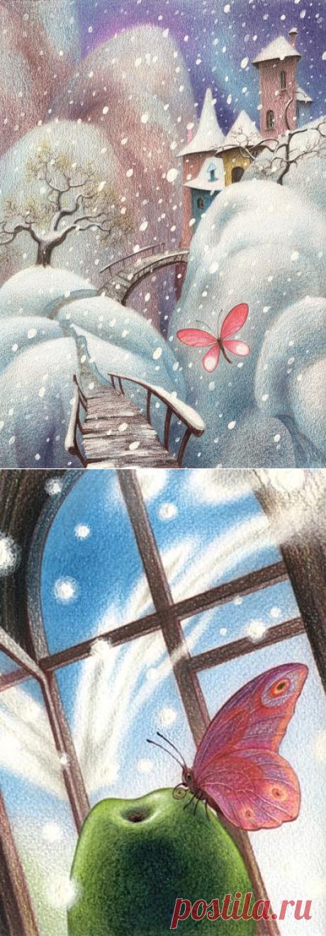 Летняя бабочка вдруг пожелала ожить в декабре... Художник Олег Майоров (Oleg Mayorov)