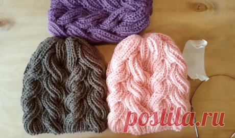 Зимняя шапка пышной резинкой. Как связать шапку с переплетениями пышной резинки