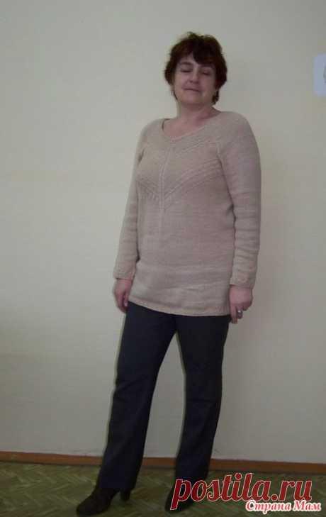 Очарованная Норой (туника спицами) Здравствуйте, дорогие рукодельницы! Давно мечтала связать себе пуловер по мотивам модели Норы Гоган, вот этой:  Но очень мне хотелось связать его сверху вниз, единым полотном.