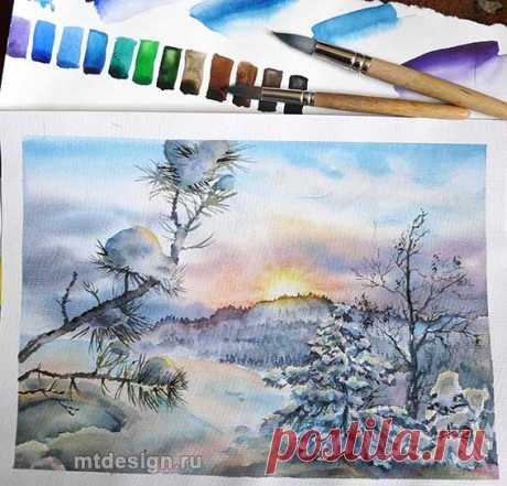 Как рисовать снег акварелью | MTdesign