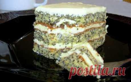 Маковый торт со сливочно-лимонным кремом Сам по себе торт легкий, воздушный и не очень калорийный.