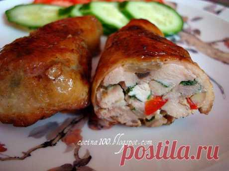 Самые вкусные рецепты.: Куриные голени, фаршированные шампиньонами.