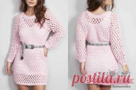 730e74e4140 Длинный летний пуловер крючком Модель от circulo. Пуловер розового цвета  вяжется крючком номер 4.