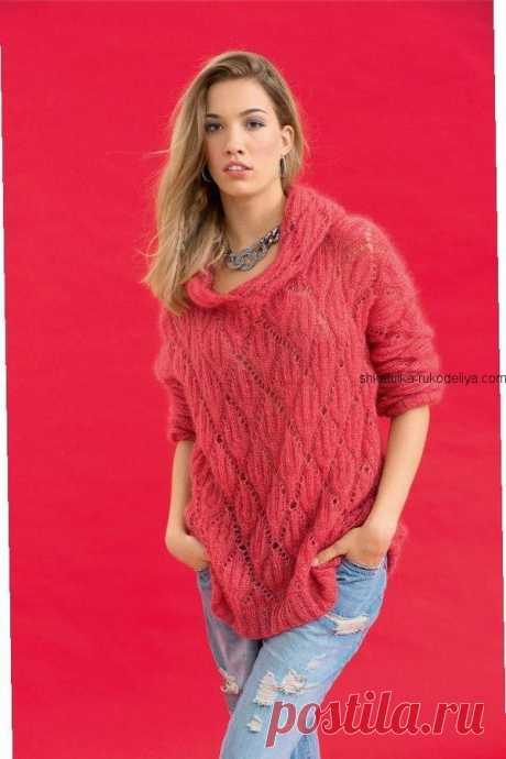Розовый пуловер с капюшоном Розовый пуловер с капюшоном. Женский пуловер из мохера спицами 2019