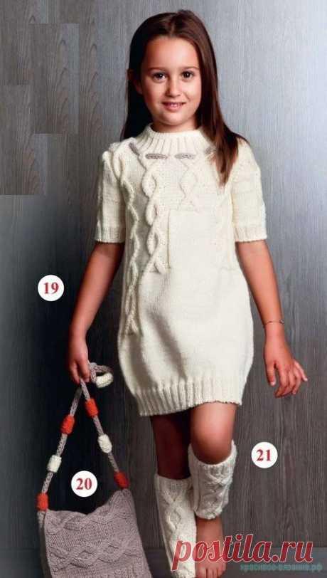 Белое платье, сумка и гетры для девочки — Красивое вязание