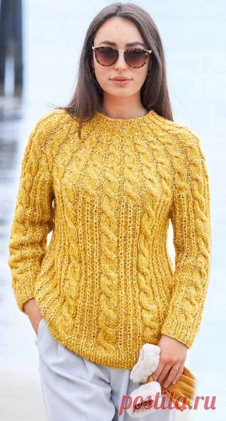 Пуловер с круглой кокеткой из кос (Вязание спицами) — Журнал Вдохновение Рукодельницы