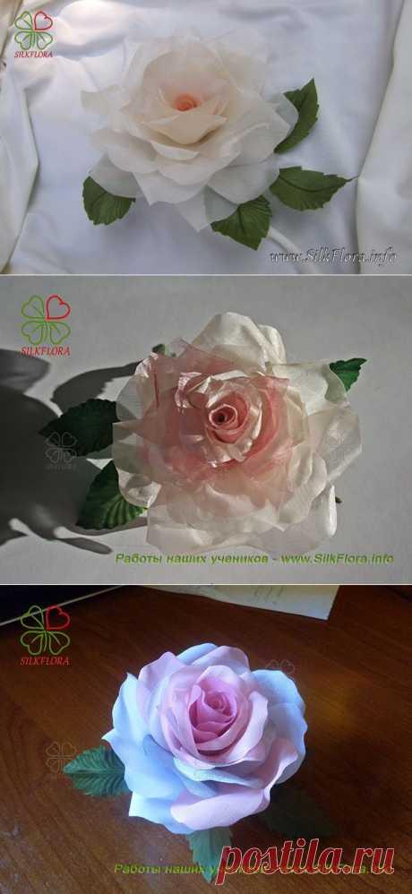 Как сделать розу из ткани без использования инструментов | Первая web-школа шёлковой флористики - SilkFlora