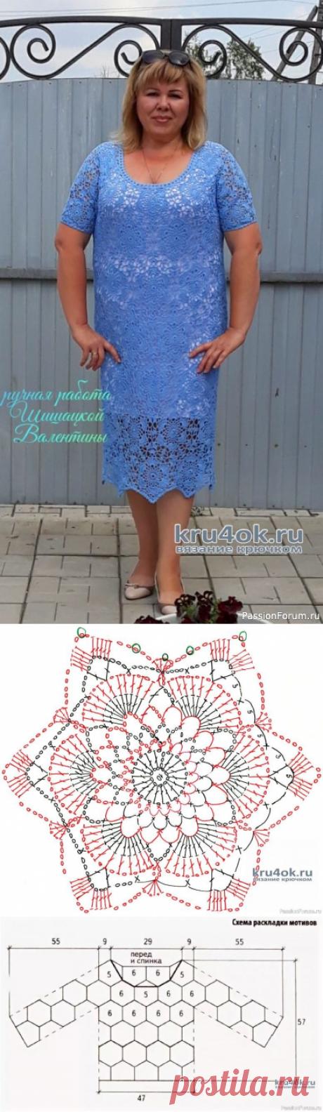 Женское платье крючком Незабудка. | Женская одежда крючком. Схемы и описание