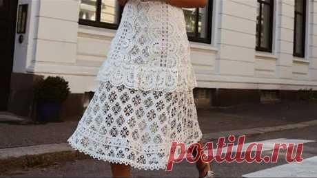 Супер подборка схем для вязания крючком ажурного платья ❤ crochet pattern.