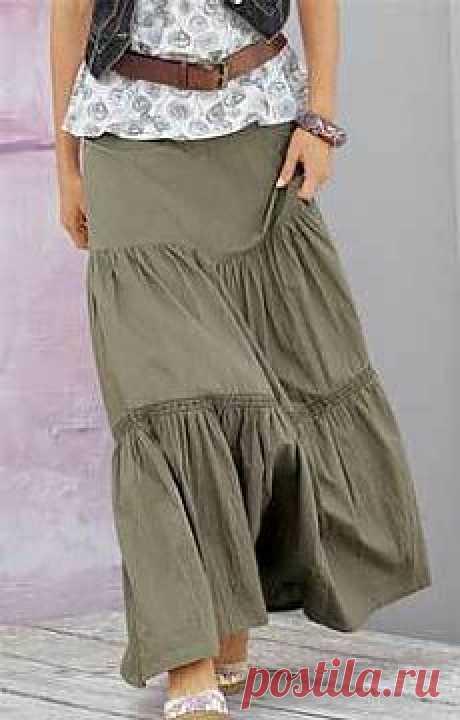 Как сшить юбку в пол с оборочками.
