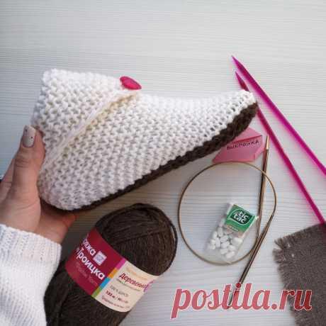 Как связать стильные носки-сапожки с отворотом-уголком на 2 спицах | Записки Спицеманьяка | Яндекс Дзен