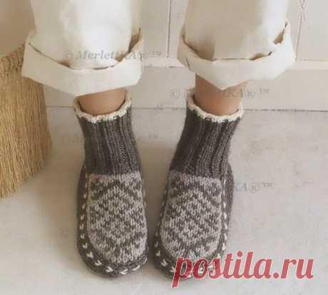 Ondori i love knit ☆ вяжем домашние сапожки с жаккардом.