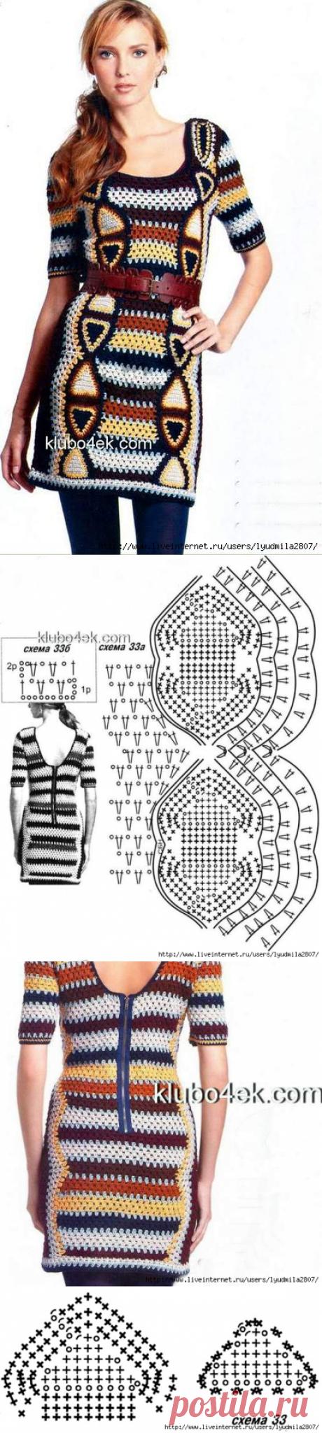 Яркое красивое платье, связанное крючком